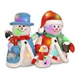 National Tree MZCSM-ASST-14 Cotton Red Snowman Family with 24-Color Changing LED Lights, 14-Inch