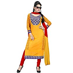 Fabfirki Yellow and Red Unstitched Cotton Salwar Suit