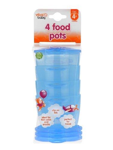 Imagen 1 de Vital Baby - Recipientes para alimentos infantiles (4 unidades), color azul