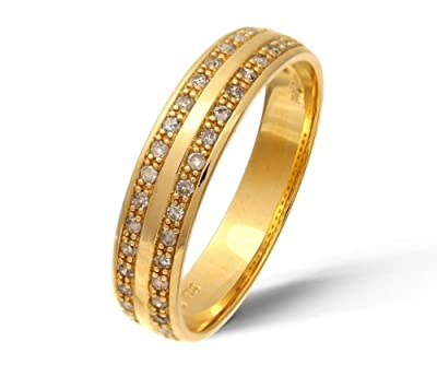 Ariel 9ct Yellow Gold 0.20ct Diamond Double Row Pave Set Eternity Ring