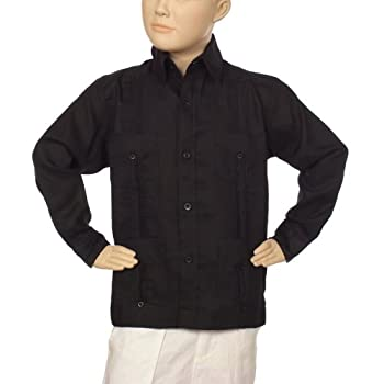 Boys linen guayabera shirt in black
