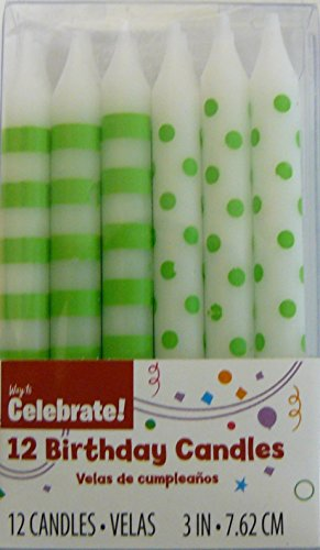 12 Green Polka Dot & Stripes Birthday Cake Candles - 1