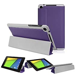2010kharido Magnetic Smart PU Leather Stand Case Cover for 2013 ASUS Google Nexus 7 FHD 2nd Purple