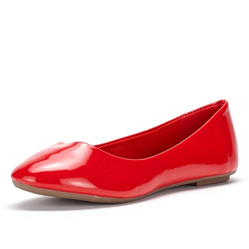 LE MIU SIMPLE Women's Casual Solid Plain Ballet Comfort Soft Slip On Flats ShoesNew Colors Red Patent Size 10