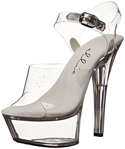 Ellie Shoes Women's 601 Brook Platform Sandal, Clear, 8 M US