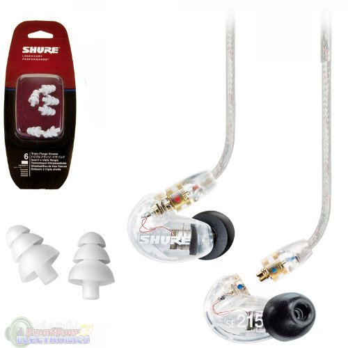 Shure SE215-CL Sound Isolating In Ear Stereo Earphones (Clear) with 3 Pairs of Triple Flange Sleeves for Better Sound Isolation
