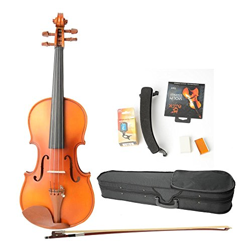 Astonvilla Av05 3/4 Matte Acoustic Spruce Wood Violin With Electronic Tuner And Accessories For Kids