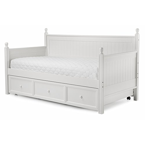 Casey II Wood Daybed with Ball Finials and Roll Out Trundle Drawer, White Finish, Twin (Wood Trundle Bed compare prices)