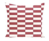E By Design Stair Stepping Stripes Print Outdoor Pillow, 18-Inch, Brick