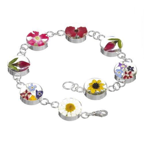 Silver Bracelet with mixed flowers - Lg round links + Giftbox