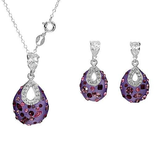 Sterling Silver Crystals and 3.3 CTW Cubic Zirconias Ladies Jewelry Set. Length 26 in. Total Item weight 4.6 g.