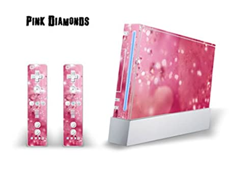 Skin Decal Cover for Nintendo Wii Console + two Wiimote Controllers Sticker- Pink Diamonds