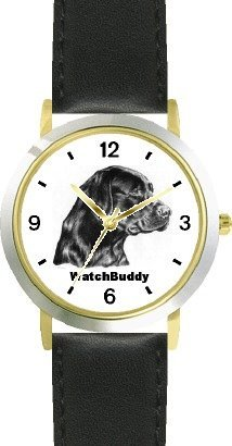 Labrador Retriever - Black (SC) Dog - WATCHBUDDY® CLASSIC DELUXE TWO-TONE THEME WATCH - Arabic Numbers-Black Leather Strap-Size-Large ( Men's Size or Jumbo Women's Size )