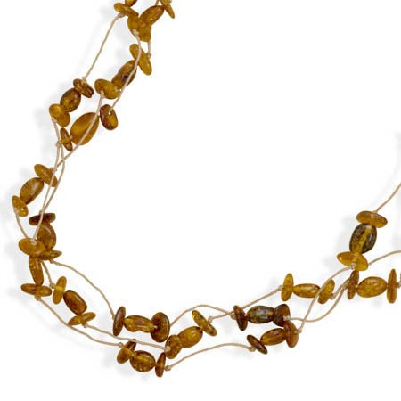 20 Inch Triple Strand Cord Necklace with Baltic Amber Beads