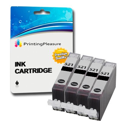 4 x CANON Pixma MP980 Hohe Qualität Kompatibel Drucker Tinte Patronen Ohne Chip - Vier Schwarz CLI521BK (Also compatible with Canon Pixma iP3600 iP4600 IP4700 MP540 MP550 MP560 MP620 MP630 MP640 MP980 MP990 MX860 MX870) by Printing Pleasure PREMIUM