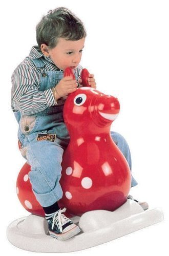 Gymnic 80.01 Inflatable Rocking Rody Rider with Base, Red/Yellow by Gymnic