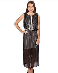 Vteens Off White & Black Maxi Dress (vd1503-S_Multi Coloured_Small)