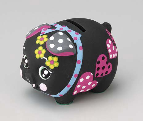 Made in Japan Decoration Piggy Bank Black Color Small Size