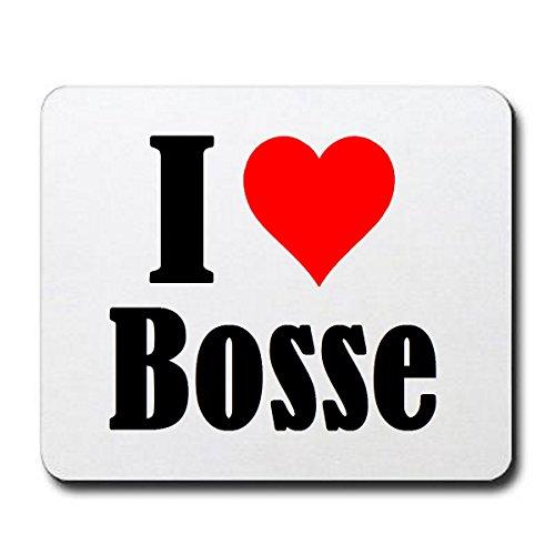 """ESCLUSIVO: Tappetino Mouse/ Mousepad """"I Love Bosse"""" in Bianco, una grande idea regalo per il vostro partner, colleghi e molti altri! - regalo di Pasqua, Pasqua, mouse, poggiapolsi, antiscivolo, gamer gioco, Pad, Windows, Mac, iOS, Linux, computer, laptop, notebook, PC, ufficio , tablet, Made in Germany."""