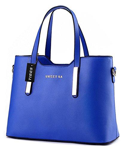 Tibes lusso PU borsa in pelle borsa a tracolla di tote di modo Cielo blu