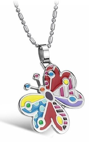 Brand New Titanium Pendant Necklace Colorful Butterfly Creative Stylish Korean Style in a Gift Box