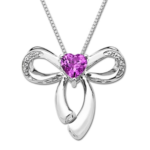 XPY Sterling Silver Created Pink Sapphire with Diamond Heart Bow Pendant Necklace , 18