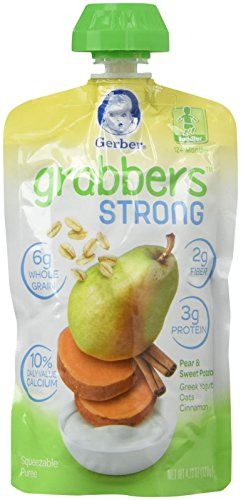 Gerber Grabbers Strong, Pear  and  Sweet Potato, Greek Yogurt, Oats, Cinnamon, 4.23 Ounce (Pack of 6) (Nestle Yogurt compare prices)