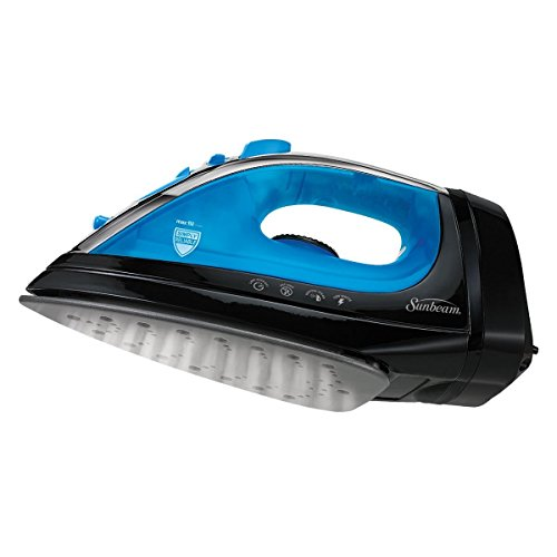 Sunbeam® Steam Master® Iron w/Retractable Cord, Blk/Blue GCSBCL-202-000, Pointed tip helps collar, cuffs and lapels, around buttons or inside pleats (Steam Tobi compare prices)