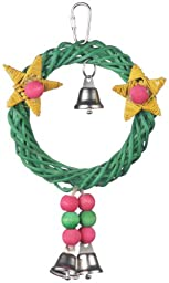 Super Bird Creations 8 by 6-Inch X-mas Wreath Vine Swing Bird Toy, Medium