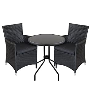 gartenm bel outlet 3tlg bistrogarnitur bistro set balkonm bel bistrotisch rattansessel. Black Bedroom Furniture Sets. Home Design Ideas
