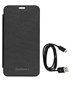 TBZ Flip Cover Case for Asus Zenfone 2 with Data Cable -Black