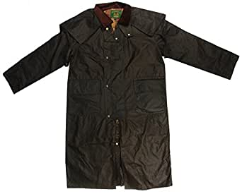 New mens Cupra waxed cotton windproof Stockman long cape jacket coat with hood outdoor countryside oiled fishing hunting shooting farming riding check lining Brown (Brown small)