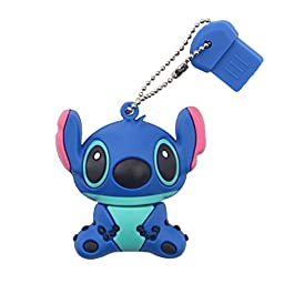 Litop® 64GB Cute Cartoon Stitch Shaped USB 2.0 Memory Disk U Disk with Key Chain Hole (Blue, 64GB)
