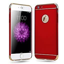 iPhone SE Case,Inspirationc® Ultra-thin 3 in 1 Anti-Scratch Anti-fingerprint Shockproof Resist Cracking Electroplate Metal Texture Armor PC Hard Back Case Cover for iPhone SE/5S/5--Red