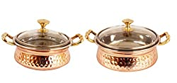 IndianArtVilla Handmade High Quality Stainless Steel Copper Casserole Dish Serving Indian Food Daal Curry Set of 2 Handi Bowl With Glass Tumbler Lid Capacity for use RestaurantGift Item