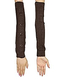 Womens Warm Winter Long Ribbed Knit Thermal Arm Warmers with Buttons one size Brown