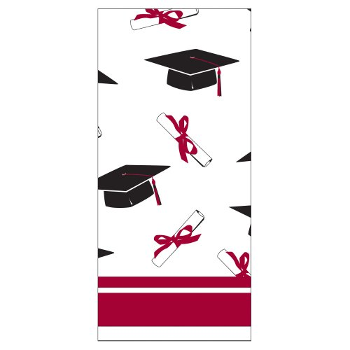 Creative Converting School Colors Paper Art Square Graduation Party Plastic Table Cover, Burgundy