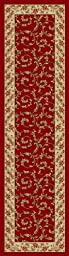 Rubber Collection Veronica Burgundy Dark Red Or Charcoal Black Printed Slip Resistant Rubber Back Latex Traditional Area Rugs and Runners (Red Burgundy, 23\