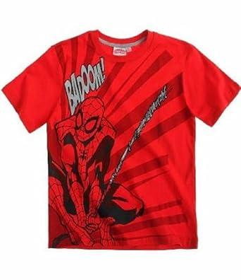 Spiderman T-Shirt Kurzarm in 3 Varianten und 4 Größen blau, rot und grau, Farbe:rot;Größe:104