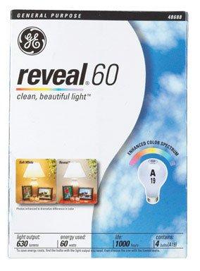 Ge General Purpose Reveal Incandescent Bulbs, 60 Watts, 4 Bulbs Per Pack Gel48688