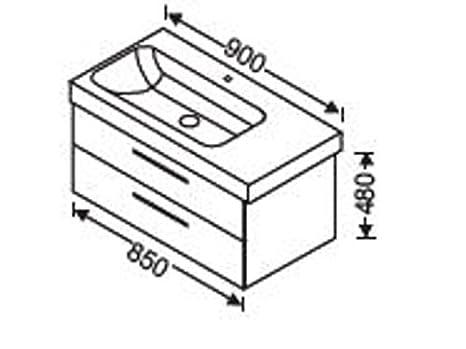 Burgbad Waschtischunterschrank 2 Auszuge fur Keramag Icon 90cm, WUHY085