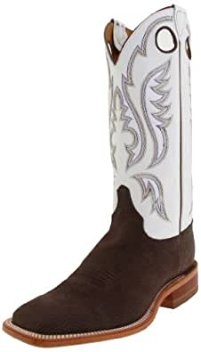 "Justin Boots Men's U.S.A. Bent Rail Collection 13"" Boot Wide Square Double Stitch Toe Leather Outsole,Chocolate Bisonte/White Classic,6 D US"