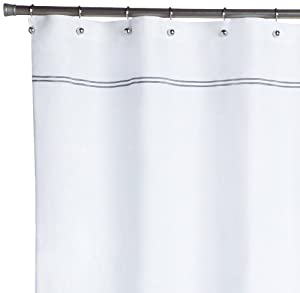 Pinzon Hotel Stitch Shower Curtain White With Silver Grey Strip