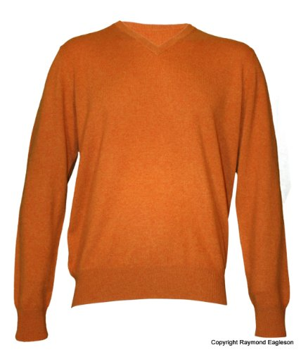 Noluur Mens Cashmere V Neck Jumper in Orange Size XXL