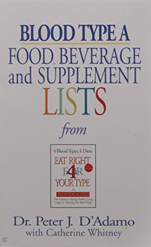 Blood Type A: Food, Beverage and Supplemental Lists  from Eat Right 4 Your Type (Now Foods Positive compare prices)