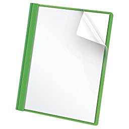 Oxford Clear Front Report Covers, Letter Size, Green, 25 per Box (55807)