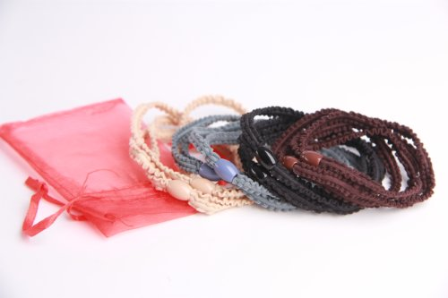 WittyGirl (TM) Bueatiful Hair Ribbon Mix Colored 8pcs Set 4 Colors Coffee/Black/Gray/Beige