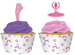 Creative Converting Tutu Much Fun Cupcake Pick Decorations with Matching Baking Cup Wrappers, 12 Count by Creative Converting-Toys
