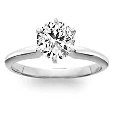 1.02 Carat F/SI1 Round Brilliant Certified Diamond Solitaire Engagement Ring in 18K White Gold