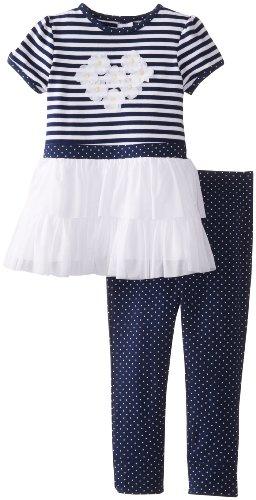 Little Me Baby-Girls Infant Daisy Mesh Legging Set, Navy Multi, 12 Months front-947342